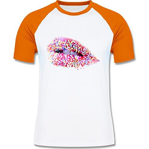 Statement Shirts - Candy Lips Lippen Zucker Mund - zweifarbiges  Baseballshirt für Männer Weiß/Orange
