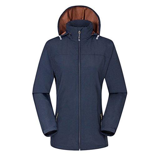 Zhhlaixing Unisex Windproof Waterproof Climbing Jackets De plein air Mens Womens Respirant Sports Outwear Hooded Navy blue-Womens