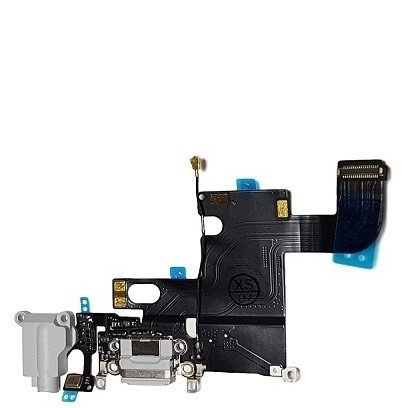 SMARTEX | Connecteur de charge Marque Smartex compatible avec iPhone 6 PLUS Gris Clair – Câble nappe de rechange avec connecteur pour microphone, jack audio, bouton home et écouteurs