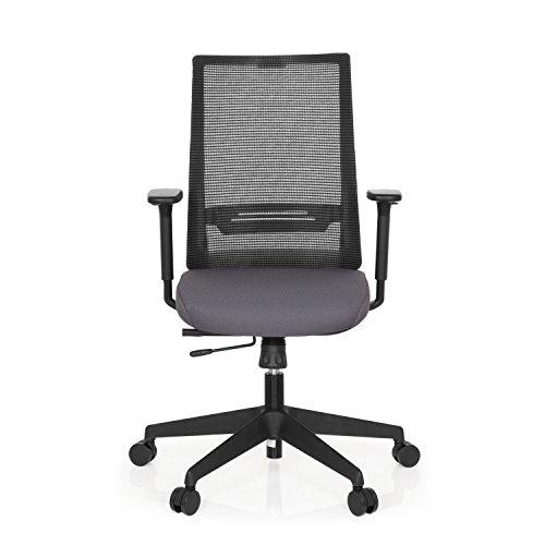 hjh OFFICE 608990 Bürostuhl Coniston Netz-Stoff Schwarz Grau Schreibtisch-Stuhl Ergonomisch verstellbare Armlehne 120-kg Netzrücken