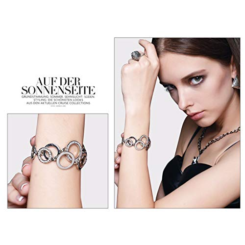 Jewels Galaxy Delicate AD Round Crossed Silver Plated Sparkling Bracelet for Women/Girls
