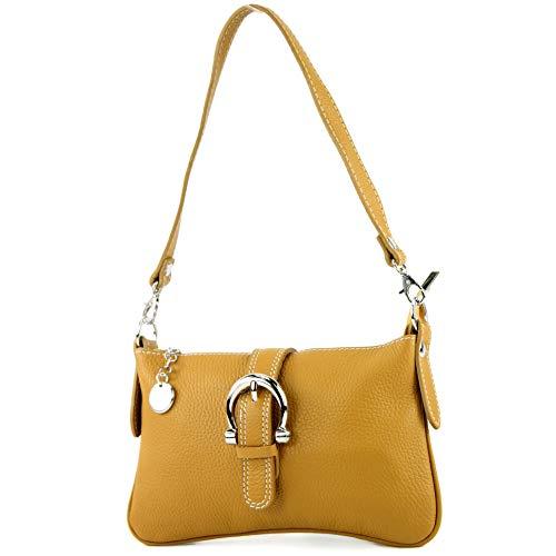 modamoda de - ital Ciudad- / bolso de hombro de cuero T05 pequeña, Color:amarillo mostaza