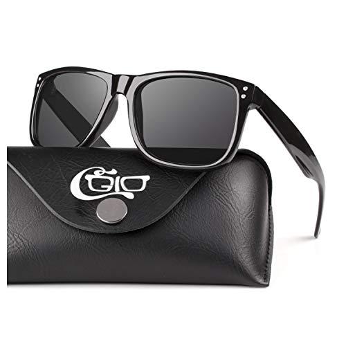 CGID Premium Polarisierte Herren und Damen Sonnenbrille UV400 Schutz Gestell TR90 Rahmen Sonnebrille Brille für Herren und Damen M02 Glänzend Schwarzes Gestell mit Schwarzen Gläsern