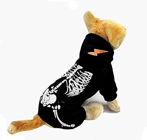 Hund Kostüm, Hillento Dinosaurier Kostüm noctilucent Skelett Outfit für Hunde Kleidung halloween Tag Partei cosplay Schädel Bekleidung, (Partei Kostüme)