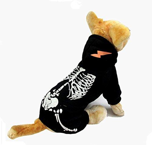 Hund Kostüm, Hillento Dinosaurier Kostüm noctilucent Skelett Outfit für Hunde Kleidung halloween Tag Partei cosplay Schädel Bekleidung, schwarz (Dunklen Hund Halloween-kostüm)