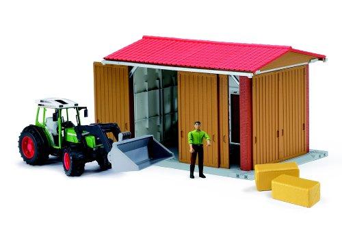 BRUDER - 62620 - Bâtiment Bworld avec Figurine et Tracteur Fendt 209 S avec Pelle et Accessoires