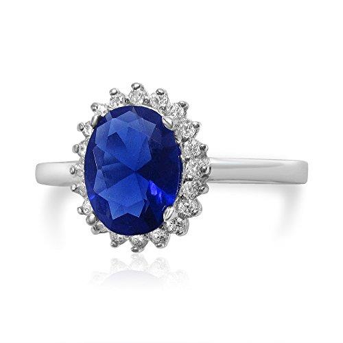 Velini, Verlobungs Ring 'Prinzessin Diana' R3045 925 Sterling Silber, Mikro pavéfassung, Qualität AAA Zirkonia Steinen und blau farbigen Glasstein, funkeln wie diamanten Mikro-diamant-ring