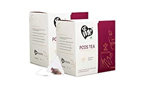 &Me PCOS PCOD Tea Green Tea for Hormonal Balance, Weight Management, Regular Periods - with Ayurvedic Herbs and Multivitamins (Kashmiri Kahwa, Pack of 2, 30 Tea Bags, 90 gm)