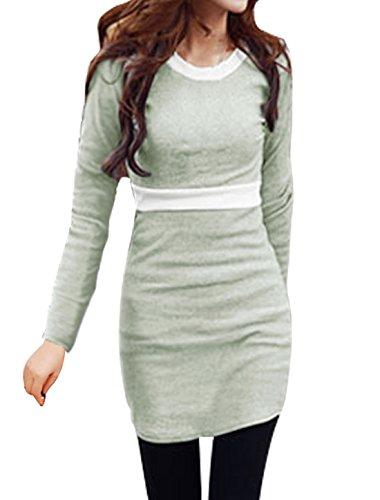 sourcingmap Femme Col Rond Couleur De Contraste Slim Fit Mini Robe Gris