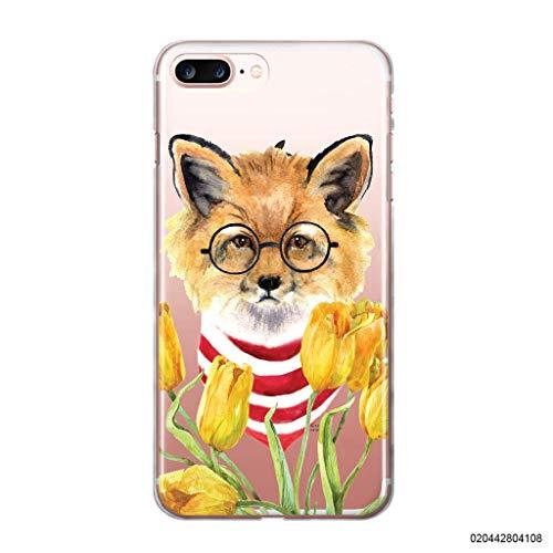 blitzversand Handyhülle Fox Fuchs kompatibel für Samsung Galaxy A5 2015 Fuchs mit Brille Tulpen Schutz Hülle Case Bumper transparent rund um Schutz Cartoon M8