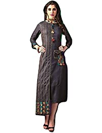 Clickedia Women's Embroidered & Tassels Work Cotton Satin Kurti