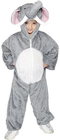 Smiffys Déguisement Enfant Éléphant, Combinaison à capuche, Party Animals, Serious Fun, Taille 7-9 ans, Couleur: Gris,