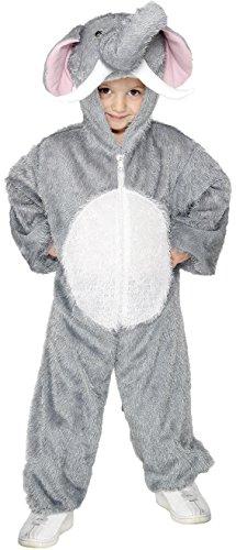 Smiffys Kinder Unisex Elefanten Kostüm, Jumpsuit mit Kapuze, Größe: M, 30020