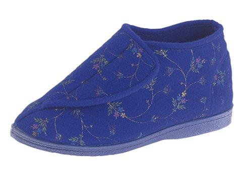 Decalcomania con chiusura in velcro, lavabili in lavatrice, da donna, per stivali E pantofole da donna a pianta extralarga Blu (Blu)