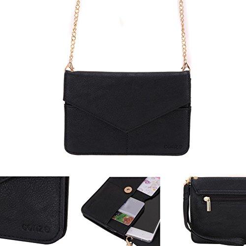 Conze da donna portafoglio tutto borsa con spallacci per Smart Phone per Lava Iris 356/352Flair Grigio grigio nero