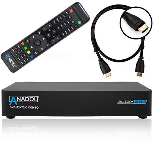 Anadol Multibox 4K UHD E2 Linux Combo Sat- Kabel- DVB-T2 Receiver mit DVB-S2 und DVB-C/T2 Tuner, HDTV, 2160p, H.265, PVR, HDR, mit HDMI Kabel [vorprogrammiert für Astra & Hotbird] -