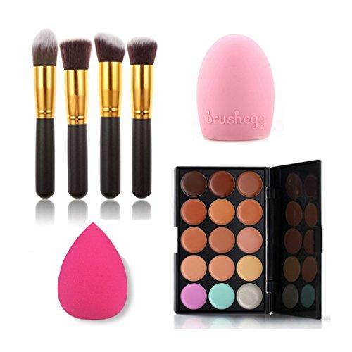 Gracelaza 4 Pcs Pinceaux Maquillage Trousse, 1 Éponge Fondation Puff, 1 Gant Nettoyage Pinceau en Silicone + 15 Couleurs Palette de Maquillage Correcteur Camouflage Crème Cosmétique Set