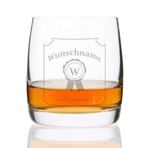 Herz & Heim® Whiskeyglas (Bohemia) - Motiv: Siegel - Gratis Gravur - Vor-, Nachnamen + Geburtsjahr