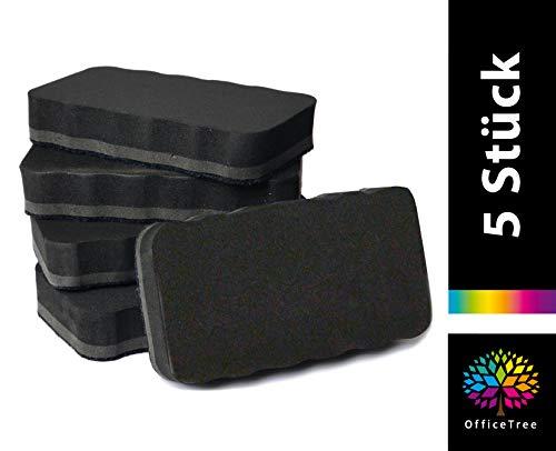 OfficeTree 5er Set Whiteboard Schwamm - schwarz - magnetisch - reinigt und trocknet effektiv - entfernt zuverlässig Schrift und Zeichnungen an Whiteboard, Flipchart und Magnet-Pinnwänden