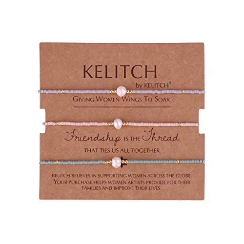 KELITCH Armbänder Damen Herren Japanisch Rocailles Perlen 3 Pcs Freundschaftsarmbänder Shell Perle Einstellbar Handarbeit Paar Armband Armband Frauen Männer (C) -