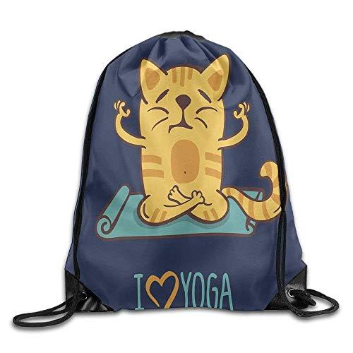 7c6322a8e56c6 HLKPE I Love Yoga Theme Cute Cartoon Cat Exercise Mat Lotus Position  Drawstring Gym Sack Sport
