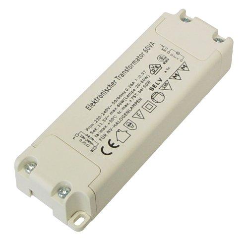 Preisvergleich Produktbild Transmedia LT2L Halogen-Trafo 230/12V/20-60W, Überlastungsschutz, Temperatursicherung, nicht dimmbar, 110 x 37 x 20.5 mm Slim