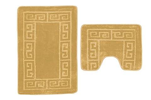 NEW BATH & PEDESTAL MAT BOX PRINT 2 PIECE TOILET SET NON SLIP MACHINE WASHABLE (2 PC BATH MAT,