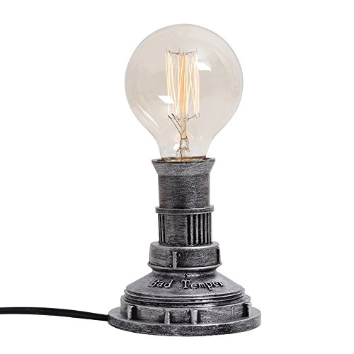 Lithx Vintage Industriel E27 Fer Tuyau D'eau Lampe de Table avec Variateur Interrupteur Chambre Lampe de Chevet Bar Café Artisanat Bureau Lumière Table Lumineuse (10 * 21cm) ( Color : Silver )