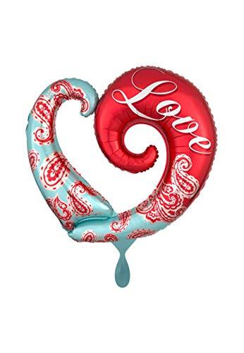 Paisley-scoop (Balloonarama - XXL Folienballon - Paisley Love - geschwungenes Herz Motiv - 81cm Super Shape - perfekte Geschenkideen zum Geburtstag Valentinstag Hochzeit, Party Dekoration, Rot)