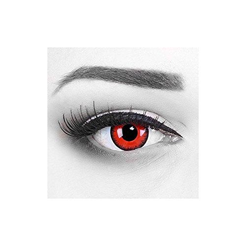 1 Paar farbige weiche weisse schwarze Lunatic Vampir Jahres Kontaktlinsen. Weiss mit schwarzem Rand 1 Paar. Topqualität zu Halloween, Fasching, Fastna by (Costu Halloween)