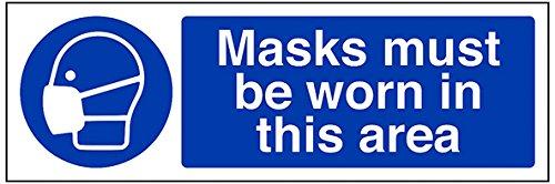 """vsafety 41074ax-s """"Masken zu tragen, in diesem Bereich"""" Pflicht Schutzbekleidung Schild, selbstklebend, Landschaft, 300mm x 100mm, blau"""