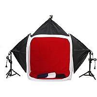 MVPower 80x80x80cm Fotozelt Softbox Set Lichtwürfel Studioleuchte Set Fotostudio mit 3 x 45W Fotolampe