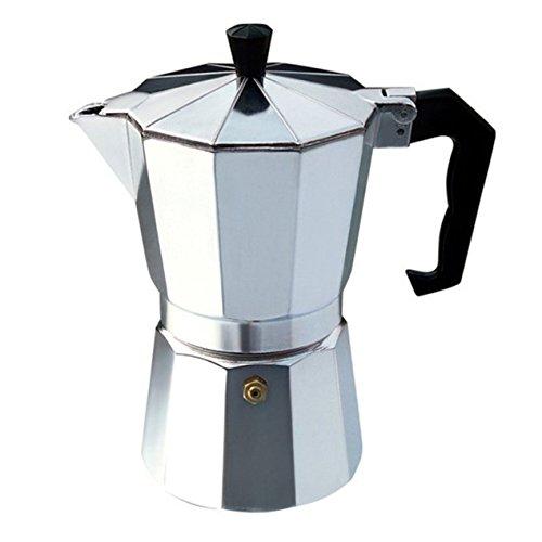 6 Tasse Kaffeekocher Moka Express italienische Espresso Kaffeemaschine - Herd Top Topf mit coolen Griff Flip Top Deckel und Ersatz-Silikon-Dichtung