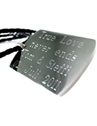 Area17 Gravur Edelstahl Dog Tag Anhänger mit Halskette