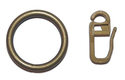 10 Gardinenringe Metall in Farbe messing antik für Vorhangstangen mit 16 oder 20 mm Durchmesser