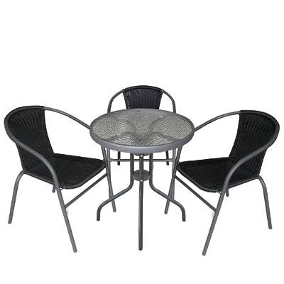 4tlg. Gartengarnitur Balkonmöbel Terrassenmöbel Set Sitzgruppe Poly-Rattan Stapelstuhl Bistrotisch geriffelte Tischglasplatte Ø60cm