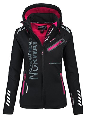 Geographical Norway Damen Softshell Funktions Outdoor Regen Jacke Sport [GeNo-24-Schwarz-Gr.XL]
