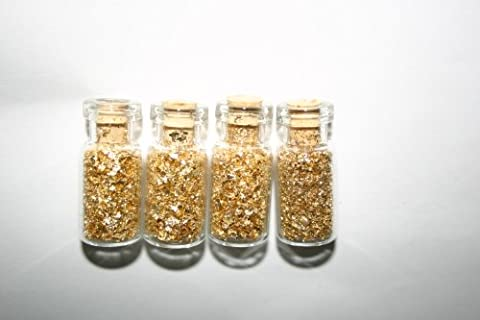 Bottles Of Gold Flake Four Corked Glass Bottles