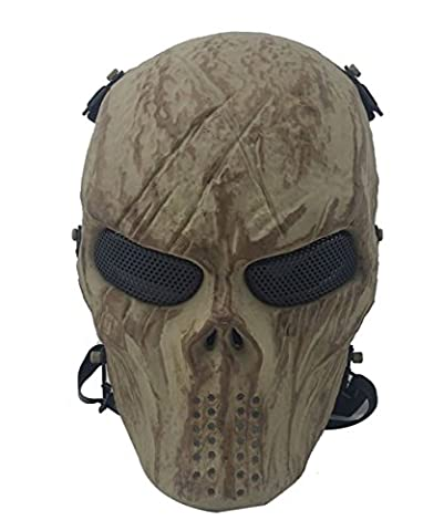 Coofit Ghost Skull Airsoft Full Mask Military Halloween Costume Skeleton Sand