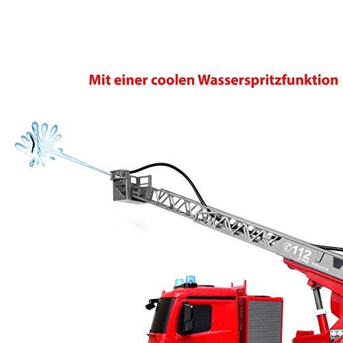 RC Auto kaufen LKW Bild 3: Mercedes-Benz Antos - original RC ferngesteuerter Feuerwehrwagen mit der neuesten 2.4GHz-Technik, wiederaufladbarer Akku, steuerbarer Rettungsleiter, Sound- und LED-Effekte, Komplett-Set inkl. Akku und Ladegerät*