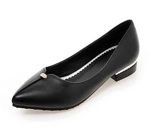AgooLar Damen Eingelegt Ziehen Auf Weiches Material Spitz Zehe Pumps Schuhe Schwarz