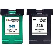 Premium Conjunto de 2 cartuchos de tinta compatible con HP 338 XL + HP 343 XL Para PSC 1500 1500 Series 1510 1510V 1510S 1510XI 1600 1610 1610V 1610XI 1610 Series 2355 2610 1503 1504 2350 1513S 2352 2353 (Negro , Coloreada) 1x338-1x343-hp