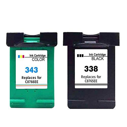 Ksera Wiederaufbereitete HP 338 343 Tintenpatrone HP 338 Schwarz HP343 Farbe Druckerpatrone, 2-Pack...