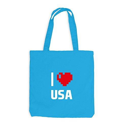 Jutebeutel - I Love USA - Amerika Reisen Herz Heart Pixel Surfblau