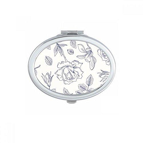 DIYthinker Peinte à la Main Feuilles Rose Fleur Plante Ovale Maquillage Miroir Compact Portable Mignon Miroirs de Poche à la Main Cadeau Multicolore