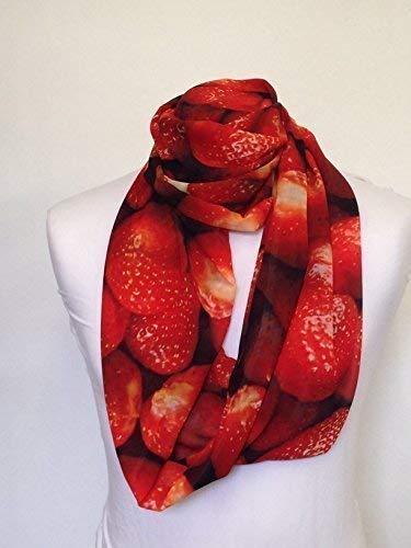 L&S PRINTS FOAM DESIGNS Erdbeeren Design Infinity Schal Jersey oder Chiffon Unisex Bedruckt Loop Fashion Schals - Infinity Jersey