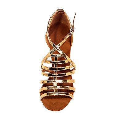 XIAMUO Nicht anpassbar - Die Frauen tanzen Schuhe Kunstleder Kunstleder Latein Sandalen entzündete Ferse Praxis/Innen-/Leistung Silber/Gold Gold