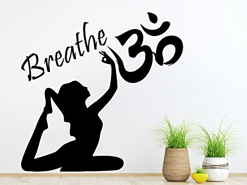 Wand Aufkleber Yoga Vinyl Sticker Decals Atmen RITMICA Namaste Yoga Eye indischen Lotus Blumen Muster Tattoo Wand Aufkleber Decor