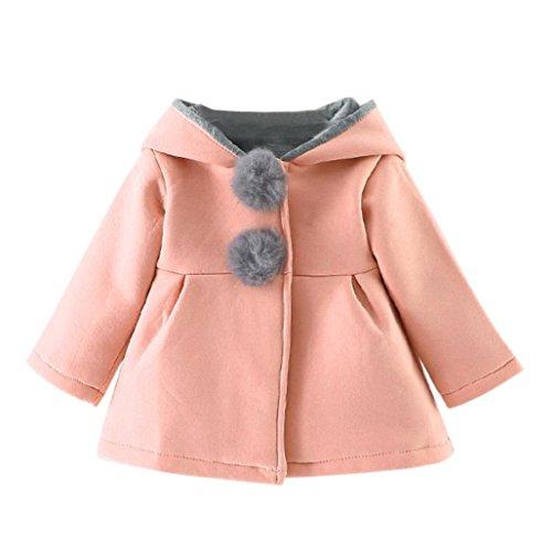 Abrigos Bebé , Amlaiworld Bebés niñas otoño invierno abrigo chaqueta gruesa ropa caliente 0-4 Años (Tamaño:0-9Mes, Rosa)
