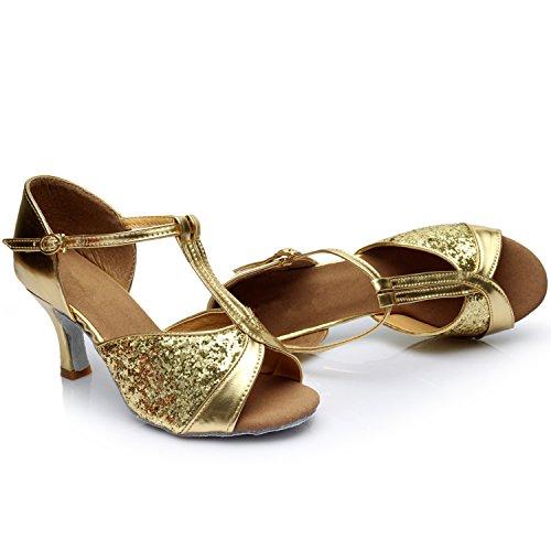 Oasap Women's Peep Toe High Heels Sequins Latin Dance Shoes. Deep Nude